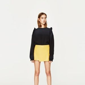 NWT Zara Yellow Faux Leather Asymmetric Mini Skirt